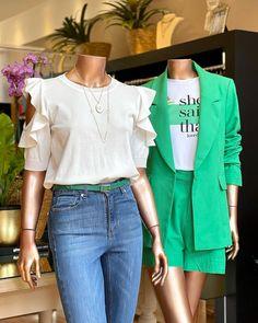 """Lu Store no Instagram: """"💚 A gente tem uma fábrica de lindeza por aqui… CERTEZAAA!!!!! Pq cada look que a gente monta da uma falhada no coração!!!! . Dengo demais…"""" Look Jean, Store, Ruffle Blouse, Long Sleeve, Sleeves, Instagram, Women, Fashion, Outfits"""