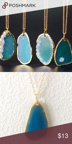 "14k Gold Irregular Shape Agate Necklace Material: Natural stone Shape: Irregular Size: Approx. 1.5""X1"" Chain: 21"" Blue Agate. Jewelry Necklaces"