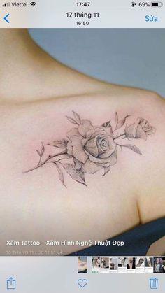 ideas simple rose tattoo design colour for 2019 Back Of Shoulder Tattoo, Flower Tattoo Shoulder, Back Tattoo, Tattoo Neck, Tiny Tattoo, Elegant Tattoos, Pretty Tattoos, Beautiful Tattoos, Rosen Tattoo Frau