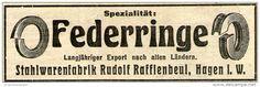 Original-Werbung/ Anzeige 1910 - FEDERRINGE / RUDOLF RAFFLENBEUL - HAGEN - ca. 95 x 30 mm