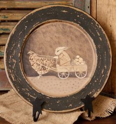Chicken Bunny Cart Plate  from Country Craft House