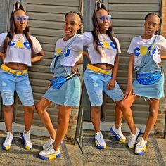 Ceo💛💙look at their drip💧 Bestfriends<br> Twin Outfits, Petite Outfits, Teenager Outfits, Girl Outfits, Cute Outfits, Bestfriend Matching Outfits, Matching Outfits Best Friend, Best Friend Outfits, Birthday Group Shirts