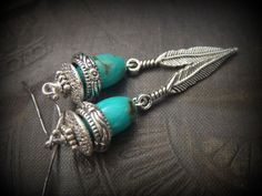 Turquoise Feather Dagger Beaded Earrings by YuccaBloom on Etsy