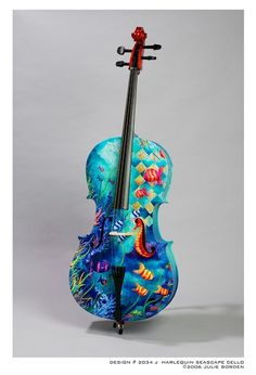 Harlequin Seascape Cello by Julie Borden, via Violin Painting, Violin Art, Violin Music, Art Music, Music Life, Cellos, Cool Violins, Sound Of Music, Classical Music