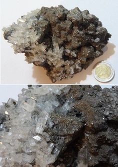 Transparent calcite crystals pyrite chalcopyrite galena on matrix Calcite Crystal, Crystals Minerals, Ebay, Crystal, Minerals