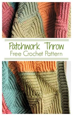 Patchwork Throw CrochetKim Free Crochet Pattern Using a yarn with a long self-striping sequence, you can enjoy the color changes of these join-as-you-go mitered squares without snipping and adding new yarn! It's all worked in one piece. Crochet Afghans, Crochet Blanket Border, Crochet Quilt, Crochet Motif, Crochet Yarn, Crochet Blankets, Afghan Blanket, Crochet Squares, Crochet Pillow