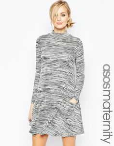Image 1 of ASOS Maternity Swing Dress In Space Dye with Pockets