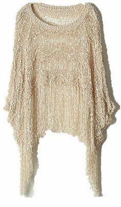 Apricot Round Neck Batwing Tassel Loose Sweater - Sheinside.com
