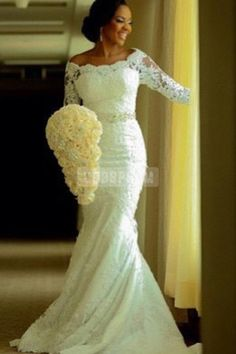 Mermaid Lace Off-shoulder Beading Belt Elegant Wedding Dress