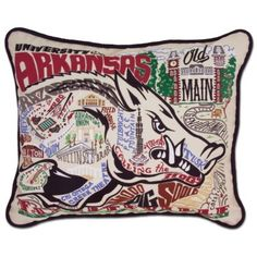 This original design celebrates the University of Arkansas. Go Razorbacks! This pillow is entirely HAND embroidered on light tea-colored 100% organic cotton. Amazingly it can take up to one week to em