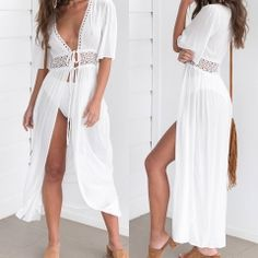 Summer Women Bohemia White Chiffon Dress Elegant V-neck Embroidery Strap Lace-up Long Cardigan Beach Dress Long Kaftan Dress, Chiffon Dress, Dress Up, Honeymoon Outfits, Honeymoon Ideas, Vacation Outfits, Casual Skirt Outfits, White Chiffon, Swimsuit Cover Ups