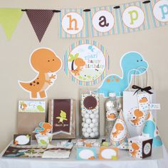 Dinosaur Party Baby Birthday Quotes, Baby 1st Birthday, Dinosaur Birthday Party, 1st Birthday Parties, Birthday Party Decorations, Birthday Ideas, Party Printables, Dinosaur Printables, Diy Party Kits