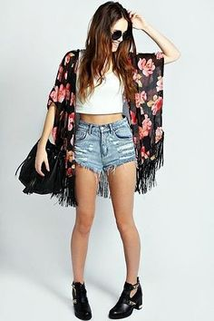 Women's Black Floral Kimono, White Cropped Top, Light Blue Denim  Shorts, Black Cutout  Like what you see? Follow me @elizabethitag
