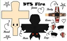 Paper Crafts Origami, Easy Paper Crafts, Diy And Crafts, Fire Bts, Paper Doll Template, Kpop Diy, Bts Backgrounds, Bts Love Yourself, Bts Chibi