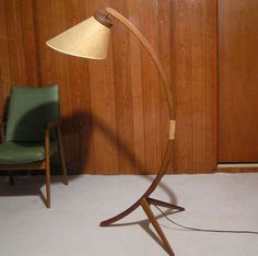 danish floor lamp - teak, repaired with twine