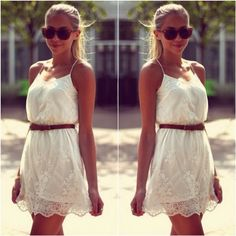 How to Chic: SWEET LACE DRESS Dress-white lace dress with brown belt  Shoes-white laced flats