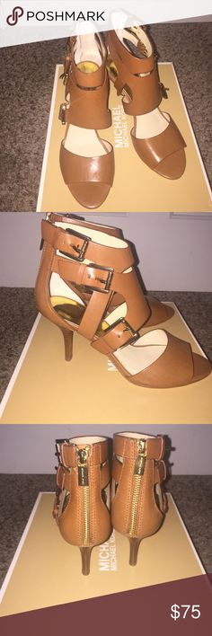 Michael kors heels Size 7.5 michael kors heels. Leather upper and rubber outsole. Brand new with box and straps are adjustable, also has a back zipper. MICHAEL Michael Kors Shoes Heels