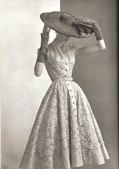 "This is a typical 1950s dress.1950s style included feminine and romantic silhouettes - full circle skirts, fitted pencil skirts and A-line shapes - that marked women's return to home and hearth after the war years.Dior and Balenciaga are the most successful designers in this decade. And all of the beautiful changes from Dior ""New look"" 1947"
