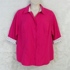 Womens Plus CJ BANKS Pink Black White Geo Trim Button Front ¾ Sleeve Top Size 2X #CJBanks #Blouse #CareerCasual
