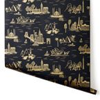 City Toile Ebony - wallpaper by Rifle Paper