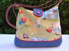 8822c91571 Cotton Shoulder Bag - Cross body Bag - zip pocket - camping scene - denim.