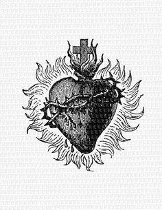 Bleeding Heart Religious Symbol Old Clip Art Illustrations High Quality Printable Image Instant Down Bleeding Heart Tattoo, Sacred Heart Tattoos, Tattoo Old School, Religious Symbols, Religious Art, Old Symbols, Piercings Lindos, Sagrado Corazon Tattoo, Heart Flower Tattoo