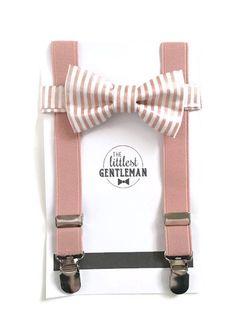 Boys Rose Gold bow tie and suspenders rose quartz suspenders