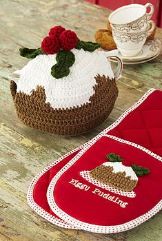 'Figgy Pudding' Oven Glove And Tea Cosy