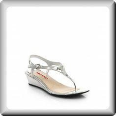 Prada flat silver sandals