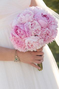 Lovely bridal bouquet made of peonies    We will create perfect bridal bouquet for you: https://saholany.com/  #flowers #weddingbouquet #weddingflowers