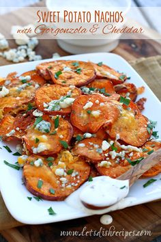 Sweet Potato Nachos with Gorgonzola and Cheddar