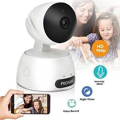 PECHAM 960P HD WiFi Security Camera, Wireless IP Camera Baby Monitor with Motion Detection, Night Vision,2 Way Audio, Remote Viewing by Smartphone App for Home and Business.