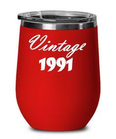 Vintage 1991 Wine Glass   30th Birthday Wine Glass   Thirty Birthday Gift for Her   Funny 60th Birthday Gifts, Special Birthday Gifts, Thirty Birthday, Birthday Gifts For Her, 30th Birthday, Funny Teacher Gifts, Funny Gifts, Birthday Coffee, Anniversary Funny