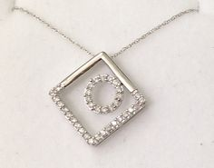 Carat Diamond Circle in Square Pendant - White Gold I Feel Pretty, 2 Carat, Chain Pendants, Fine Jewelry, White Gold, Diamond, Diamonds, Luxury Jewelry, Jewelry