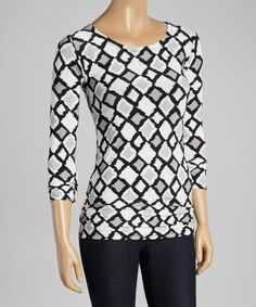Another great find on #zulily! Black & White Square Scoop Neck Top #zulilyfinds