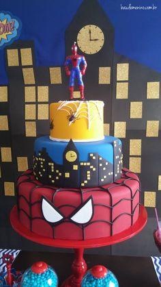 Festa Homem-Aranha Superhero Birthday Party, 3rd Birthday Parties, Bolo Jake, Spiderman Theme, Lego Spiderman, Cupcakes Decorados, Balloon Decorations Party, Cakes For Boys, Cute Cakes