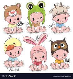 Cute Cartoon Girl, Baby Cartoon, Cute Kids, Cute Babies, Cartoon Mignon, Baby Animals, Cute Animals, Cat Vector, Vector Clipart