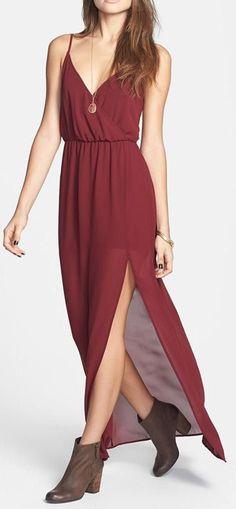 Lush Open Back Chiffon Maxi Dress