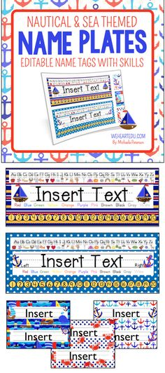 Enjoy this seaworthy Nautical and Sea Theme Desk Name Tag collection with Skills. These are a great addition to a Nautical Theme, Sea Theme, Anchors Theme and more! Print off new tags every year for your new students!