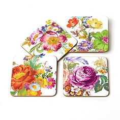 Mackenzie-Childs — Flower Market Coasters - White - Set of 4
