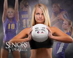Volleyball senior picture ideas for girls. Volleyball senior picture composite in the studio. Volleyball Team Pictures, Volleyball Poses, Senior Pictures Sports, Girl Senior Pictures, Sports Photos, Senior Pics, Senior Year, Softball Pictures, Cheer Pictures