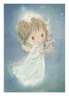Vintage Angel Christmas Card (Australian Waxflowers)