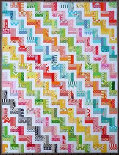 Zig Zag Rail Fence Quilt Pattern PDF by Red by redpepperquilts - so cheerful. I just love these colors - all of them! Jellyroll Quilts, Scrappy Quilts, Easy Quilts, Quilts For Kids, Rag Quilt, Jelly Roll Quilt Patterns, Patchwork Quilt Patterns, Quilting Patterns, Patchwork Ideas