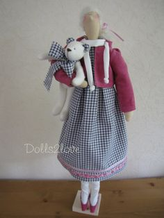 Tilda doll Lauren wearing a grey and white gingham by Dolls2love