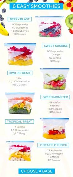 Healthy Smoothie Recipes you can put in baggies in the freezer - yummy and easy per-made smoothie freezer packs