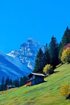 The Gspaltenhorn in the Swiss Alps seen from Murren ~  Canton Bern, Switzerland