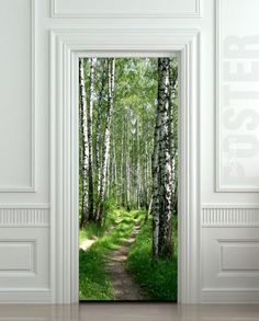 "Door STICKER wood tree forest birch way mural decole film self-adhesive poster 30x79""(77x200 cm) / 