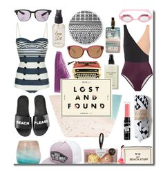 """""""Lost Sand Found"""" by numbsunday ❤ liked on Polyvore featuring Paige Gamble, Schutz, Bobbi Brown Cosmetics, Solid & Striped, Michael Kors, Bag-All, The Beach People, Dolce&Gabbana, Olivine and Bottega Veneta"""