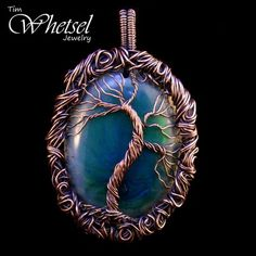 Tree of life wire wrapped orgone necklace pendant - glows