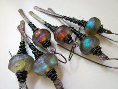 Up Jumped the Devil -primitive cosmic elemental red ultraviolet blue green lampwork glass Basha bead & hammered dark copper stick earring by LoveRoot